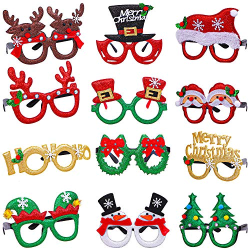 Aneco 12 Styles Christmas Glasses Frame Glitter Christmas Party Glasses Christmas Costume Creative Eyewear for Christmas Party Supplies