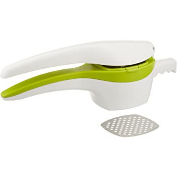 RSVP International (SPUD) Potato Ricer, White/Green | Mash Potatoes, Fruits, Vegetables & More | Includes Medium & Coarse Plates | Pot Resting Extension | Dishwasher Safe