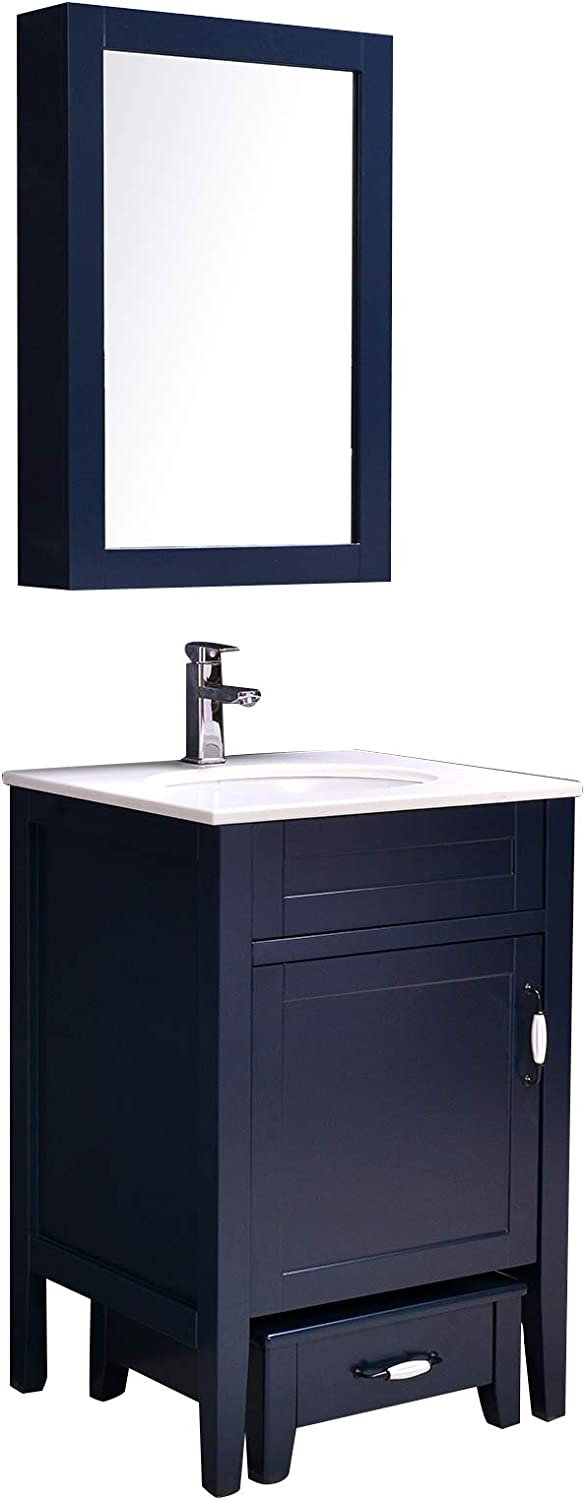Buy Danseelee 24 Floor Mounted Single Sink Quartz White Stone Top Wooden Bathroom Vanity Wall Hung Mirror Medicine Cabinet Small Storage Faucet And Drain Included Set Online In Indonesia B08rs9c8q7