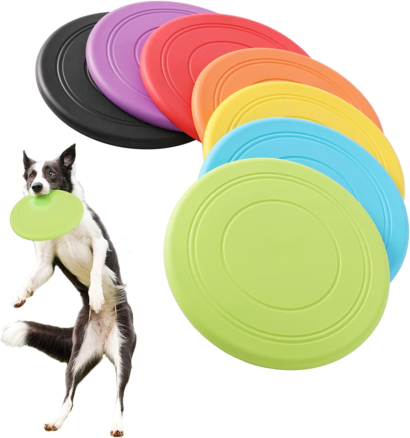 Tipatyard 7 Pack Dog Frisbee Ranking TOP1 Puppy Toys Silicone Do Wholesale Soft