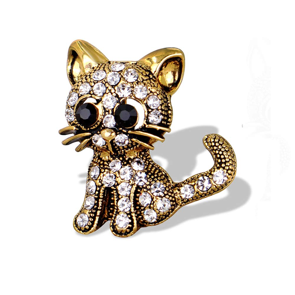 Rose-Summer Jewelry Women's Crystal Cat Pin Brooch-Gold