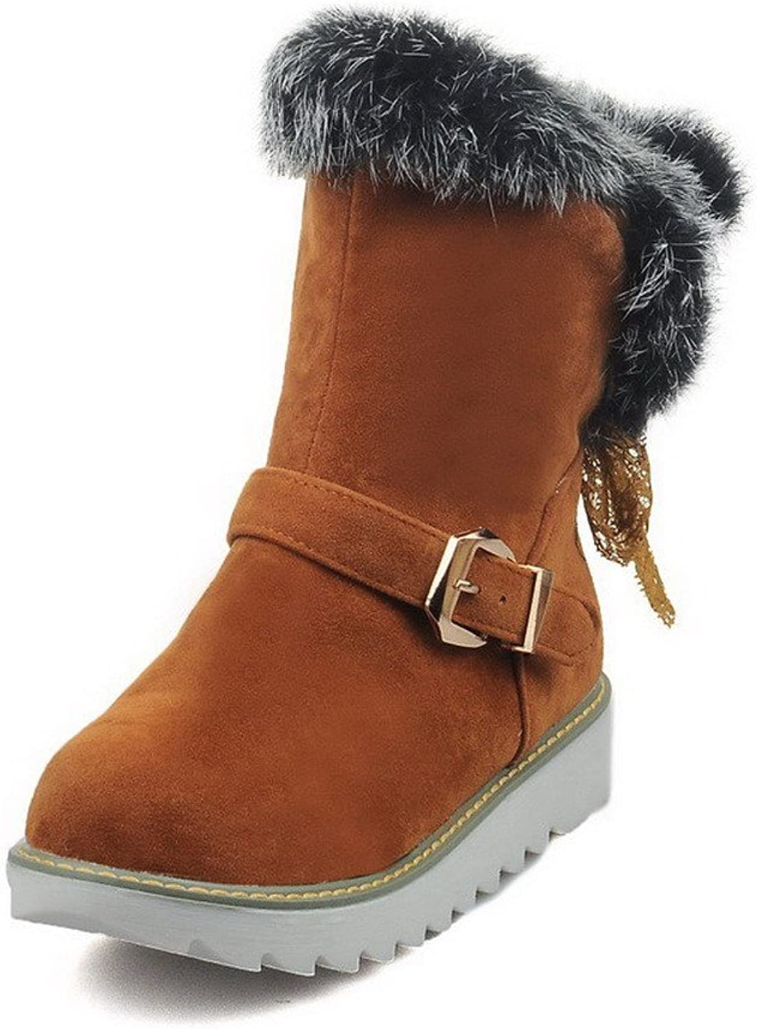 AmoonyFashion Women's Pull-on Round Closed Toe Low-Heels Imitated Suede Low-top Boots