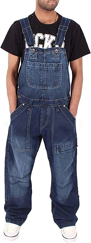 Men's denim overalls loose jumpsuits fashion simple multi-pocket overalls