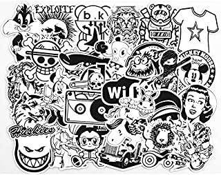 50 Pieces Set Waterproof Sticker,Black White Mixed Cartoon Stickers for Laptop,Car,Phone,Luggage Bike Stylin