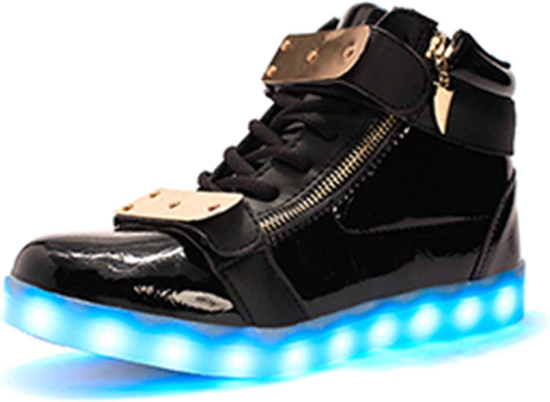 Perfectme Sneakers Men USB Charging LED shoes 7 colors Luminous shoes That Light Up High Top Black shoes