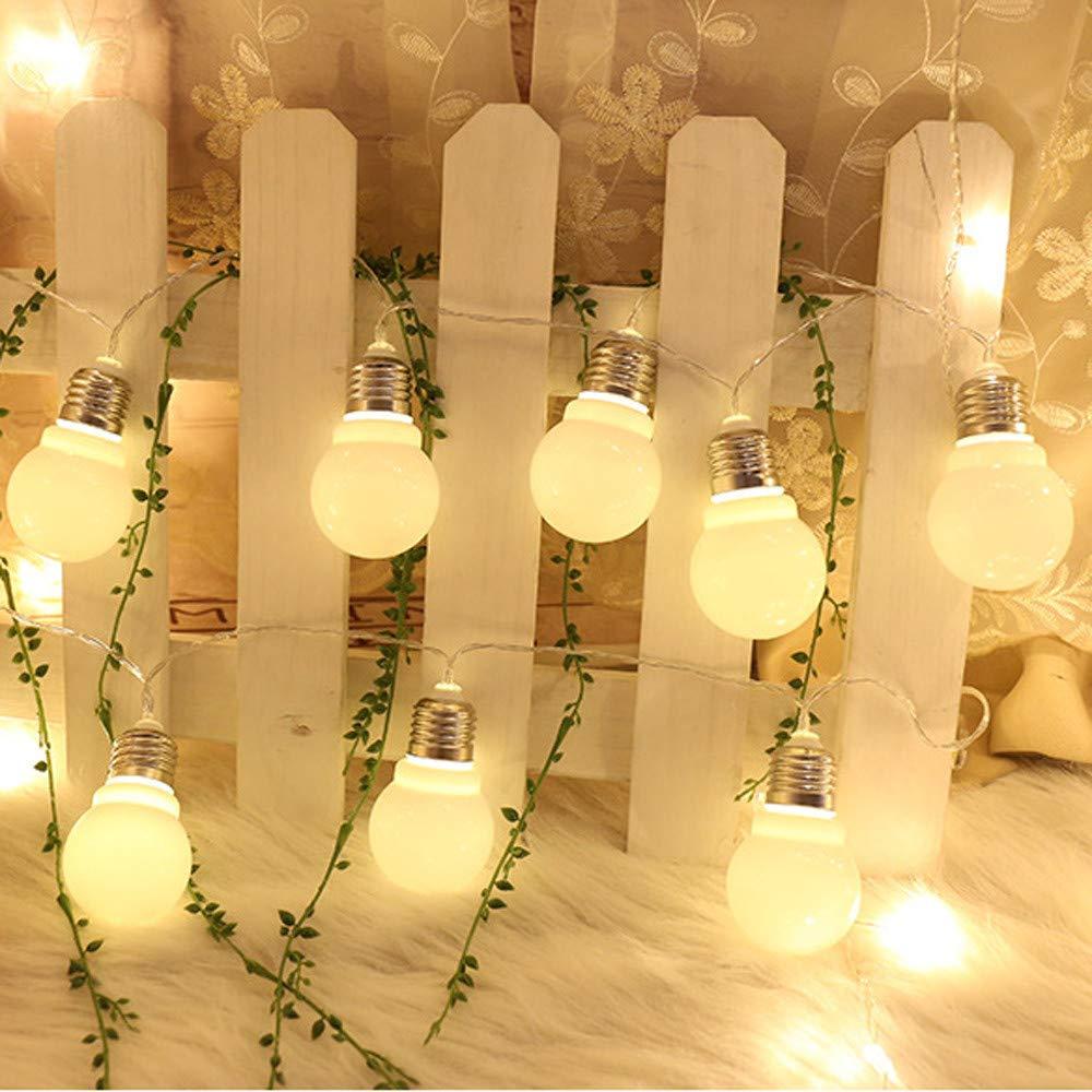Guirnalda de luces LED (20 bombillas, para exterior, para jardín, interior y exterior), amarillo, 3m: Amazon.es: Iluminación