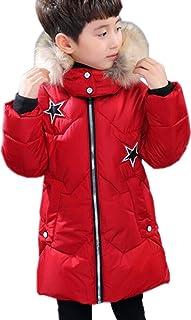 SANKU ボーイズ ダウンコート 星柄 ダウンジャケット フード付き ロング丈 中綿 コート ジャケット 暖かい 人気 かっこいい 冬 おしゃれ パーカー アウター 男の子 綿服 子供服 キッズ 防寒着 防風 トレンチコート