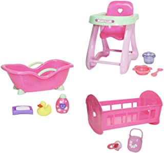 JC Toys Deluxe Doll Accessory Bundle | High Chair, Crib, Bath and Extra Accessories for Dolls up to 11"