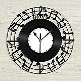 Reloj de partituras, Arte de Pared de partituras, Reloj de Notas Musicales, Reloj de música Grande, diseño Vintage, Bar de Oficina, decoración del hogar