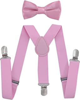 Kids Suspenders Bowtie Set,Adjustable Suspender with Bow Tie for Boys and Girls