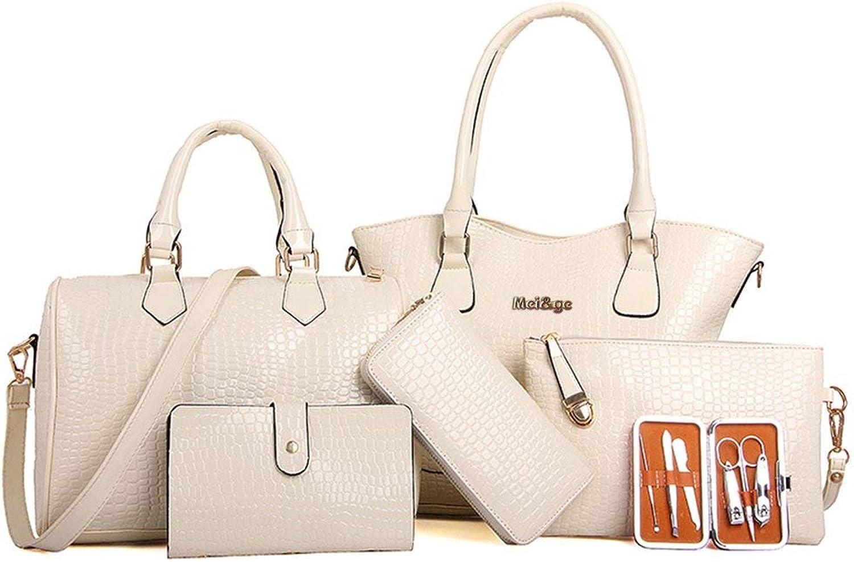 Luxury Leather 6 Pieces Set Fashion Woman Composit Bag Handbag Crossbody Bag,White