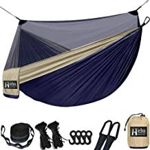 Hieha Double Camping Hammock with Net for 2 Adults, Portable Nylon Survival Travel Hammock w/Net, 9.8ft Tree Strap, Lightw...