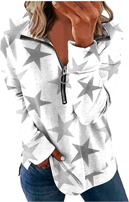 SZITOP Women's Zipper Fall Winter Tie-dye Print Fashion Casual Loose Long Sleeve Lapel Tops Shirt Sweater Sweatshirt Pullover