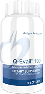 Designs for Health Q-Evail 100 - CoQ10 Ubiquinone 100mg Softgels, Natural Coenzyme Q10 with MCT + Mixed Tocopherols (60 Softgels)