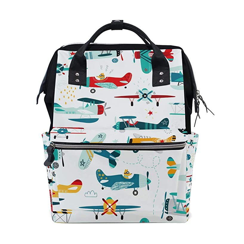 Cartoon Airplane Helicopter School Backpack Large Capacity Mummy Bags Laptop Handbag Casual Travel Rucksack Satchel For Women Men Adult Teen Children