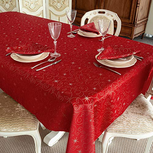 BGEUROPE Mantel antimanchas – Ref. Navidad estrellas rojo y plata (150 x 250 cm)