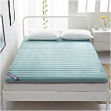 Cotton Tatami Mattress Topper, Japanese Quilted Fitted Futon Mattress Thicken Foldable Floor Mat Not-Slip, Single Double F...