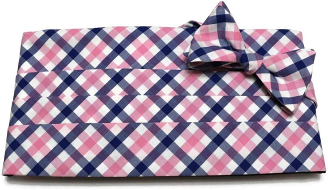 Pink and Blue Tattersall Plaid Cummerbund and Bow Tie Set