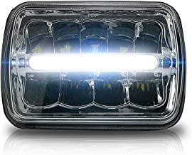 GENSSI Square LED Headlight 7x6 5x7 Chrome Reflector Sealed Beam Replacement (1 Lamp Only)