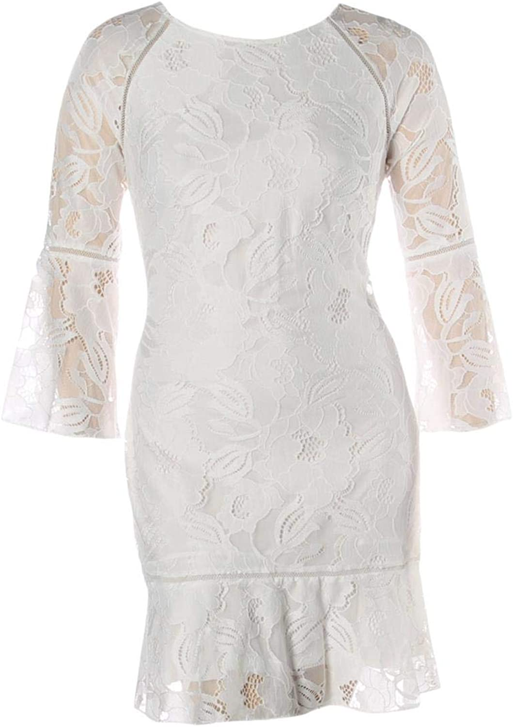 Kensie Womens Lace Overlay Bell Sleeves Party Dress