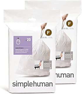 simplehuman Custom Fit Trash Can Liner F, 25 Liters / 6.5 Gallons, 20 Count (Pack of 2)