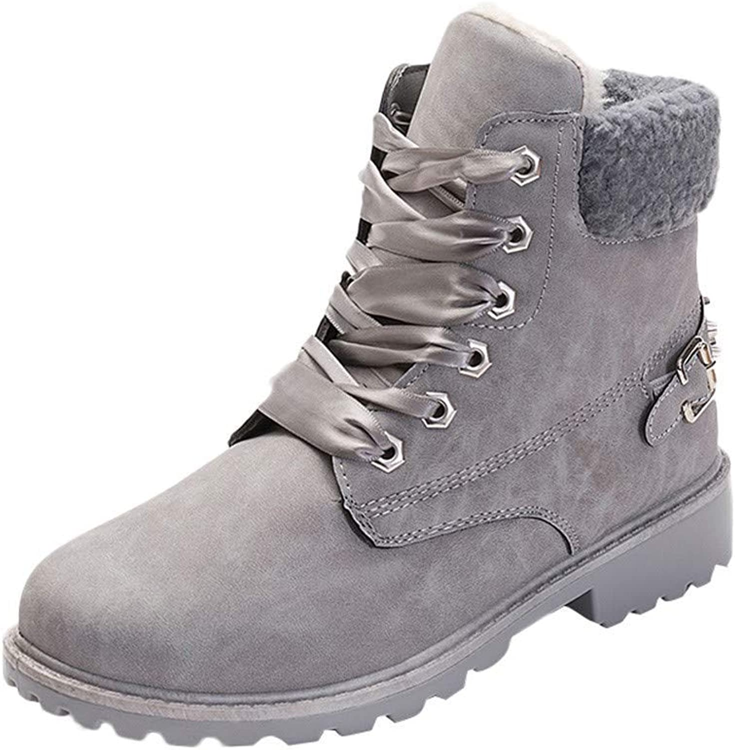 Women's Lace Up Snow Boots Fur Lined Suede Flat Short Boots