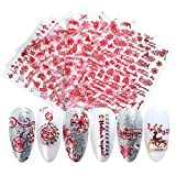 Macute 3D Christmas Nail Art Stickers for Women Red Self-adhesive Nail Decals 9 Sheets Santa Claus Christmas Tree Gift Snow Flower Patterns for Halloween Party Favors Nail Art Decorations Supplies