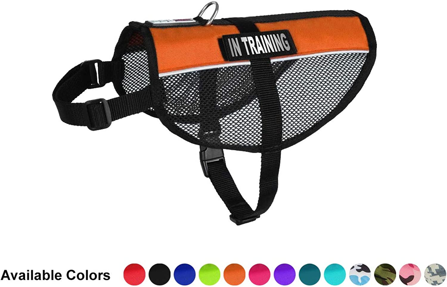 Dogline MaxAire MultiPurpose Mesh Vest for Dogs and 2 Removable In Training Patches, Medium, orange
