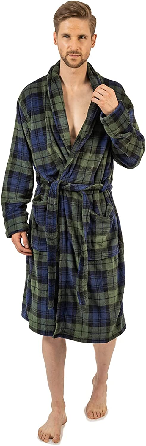 Wanted Men's Soft Plush Fleece Classic Robe with Front Pockets
