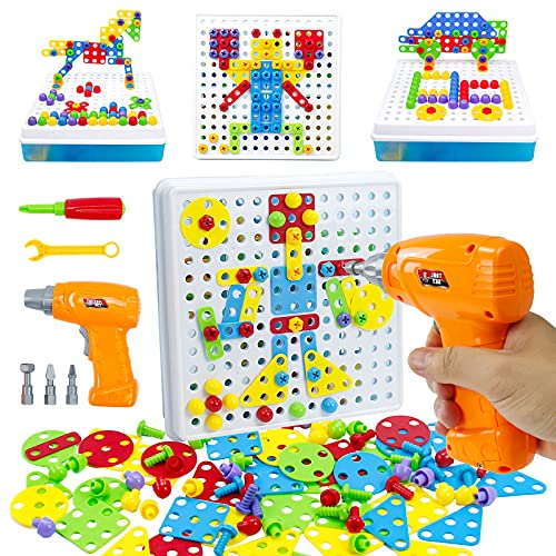 TONZE Peg Boards 3D Puzzle Kids tool Set with Toy Drill 3d Jigsaw Puzzles...