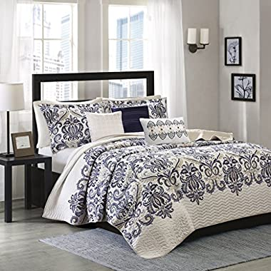 Madison Park Cali King/Cal King Size Quilt Bedding Set - Navy, Ivory, Paisley Damask – 6 Piece Bedding Quilt Coverlets – Ultra Soft Microfiber Bed Quilts Quilted Coverlet