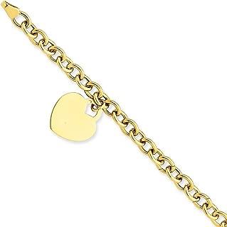 14k Yellow Gold Heart Charm Bracelet 7.25 Inch W/charm/love Fine Jewelry For Women Gift Set