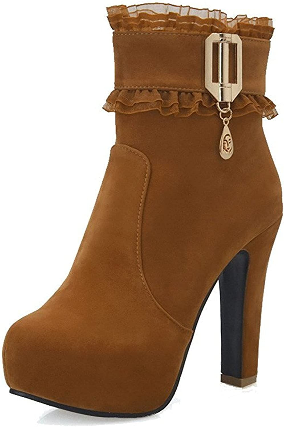 Spearss Elegant Women's Low-top Solid Zipper Round Closed Toe High-Heels Boots Hotsell