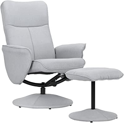 DIVANO ROMA FURNITURE Modern Office Fabric Chair with Footstool, Swivel Office Chair, Gaming Chair