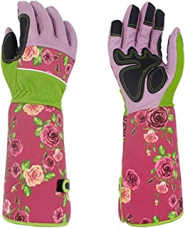 Professional Long Gardening Gloves Women Rose Pruning Gloves, Pink Beautiful Thorn Proof Garden Gloves with Long Canvas Sleeves for Flower Planting, Pruning YLST12