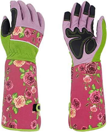 Leather Rose Pruning Gardening Gloves Puncture Resistant,Yard Work Gloves Pruning Gloves,FAUX SUEDE for Men Women(HCT01-US) (Pink)