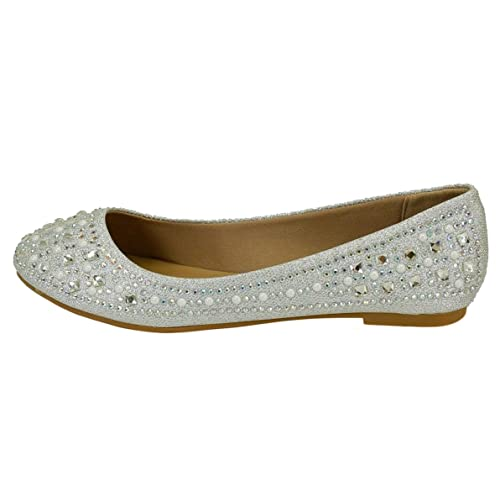 Forever Link Women s Sparkle Bead Crystal Embellished Metallic Dress Ballet  Flat c935e250735d