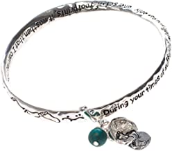 Dicksons Footprints in The Sand Women`s Silver-Plated Mobius Bangle Charm Bracelet