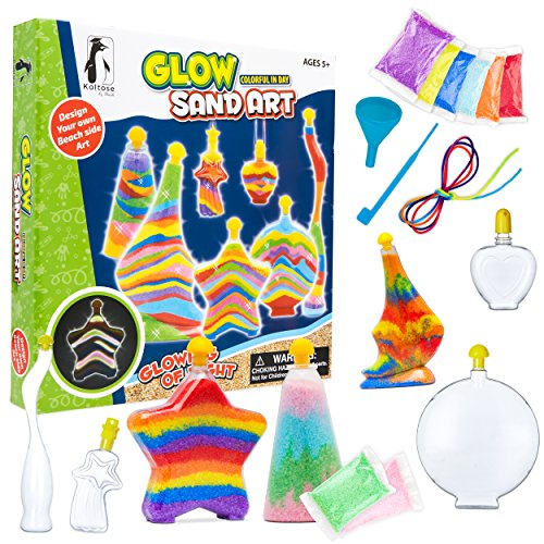 Sand Art Kit for Kids, Glow in the Dark Sand Art Bottles and Necklaces, Arts and Crafts STEM Toys for Boys and Girls, 8 Art Sand Colors Including 2 Glow in the Dark, Craft Gift for Boys and Girls 3+