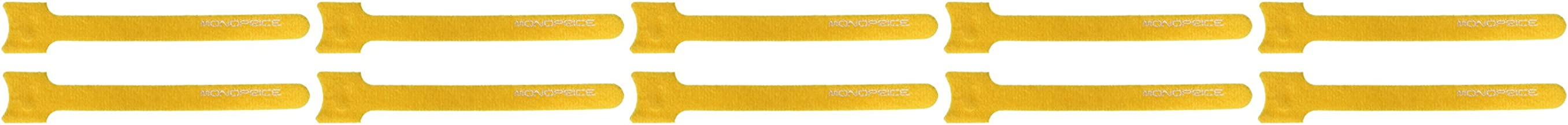 Monoprice 105813 6-Inch Hook and Loop Fastening Cable Ties, 10-Piece/Pack, Yellow