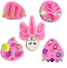 Mini Unicorn Mold,Unicorn Ears Horn Rainbow Flowers and leaf,Silicone cake fondant mold Set,Cupcake Toppers Fondant Chocolate Mold for Unicorn Theme Party and Kids Birthday(Set of 5)