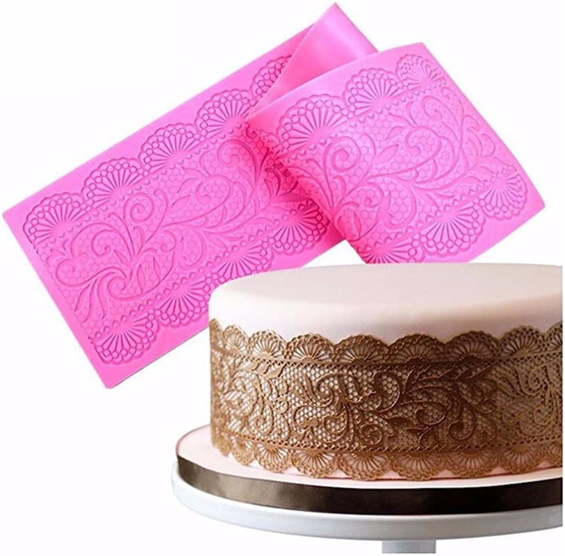 BakeArt Silicone Lace Vines Scrolls Cake Decorating Mold Decorating Tools For Edible Lace Fondant Mold Cake Lace Cupcake Mat