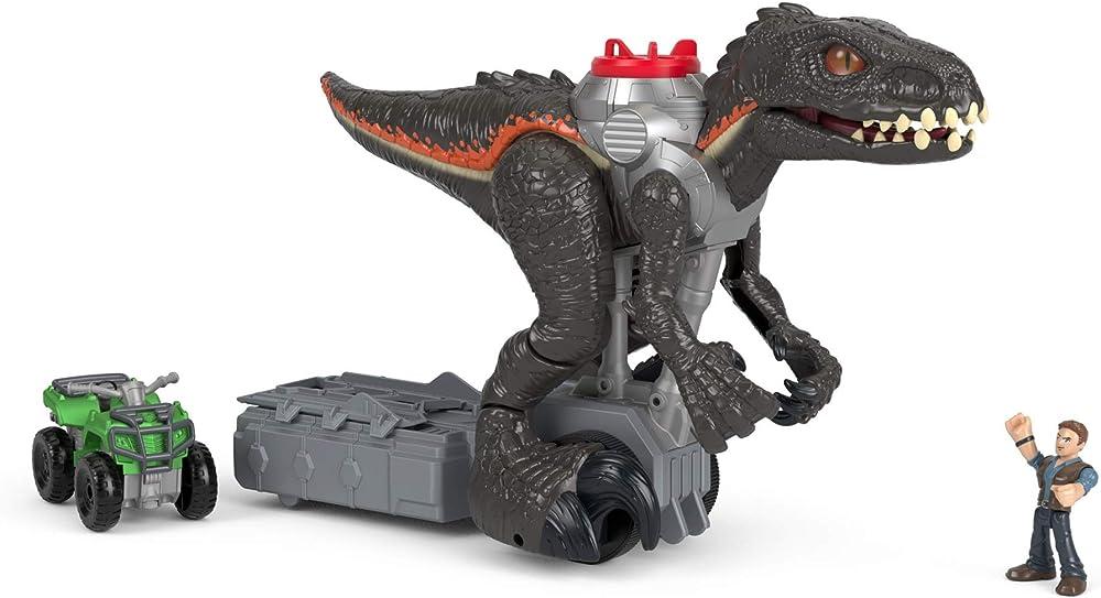 Mattel jurassic world, indoraptor cacciatore, l`atv e personaggio di owen playset FMX86