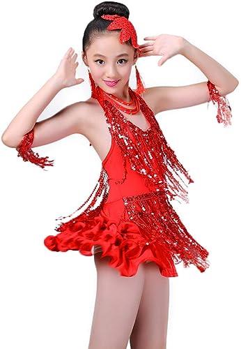 JIE. Latin-Enfants Filles Danse Latine Jupe Perforhommece Spectacle Concours vêteHommests Nouveau Paillettes Foret Glands été,L