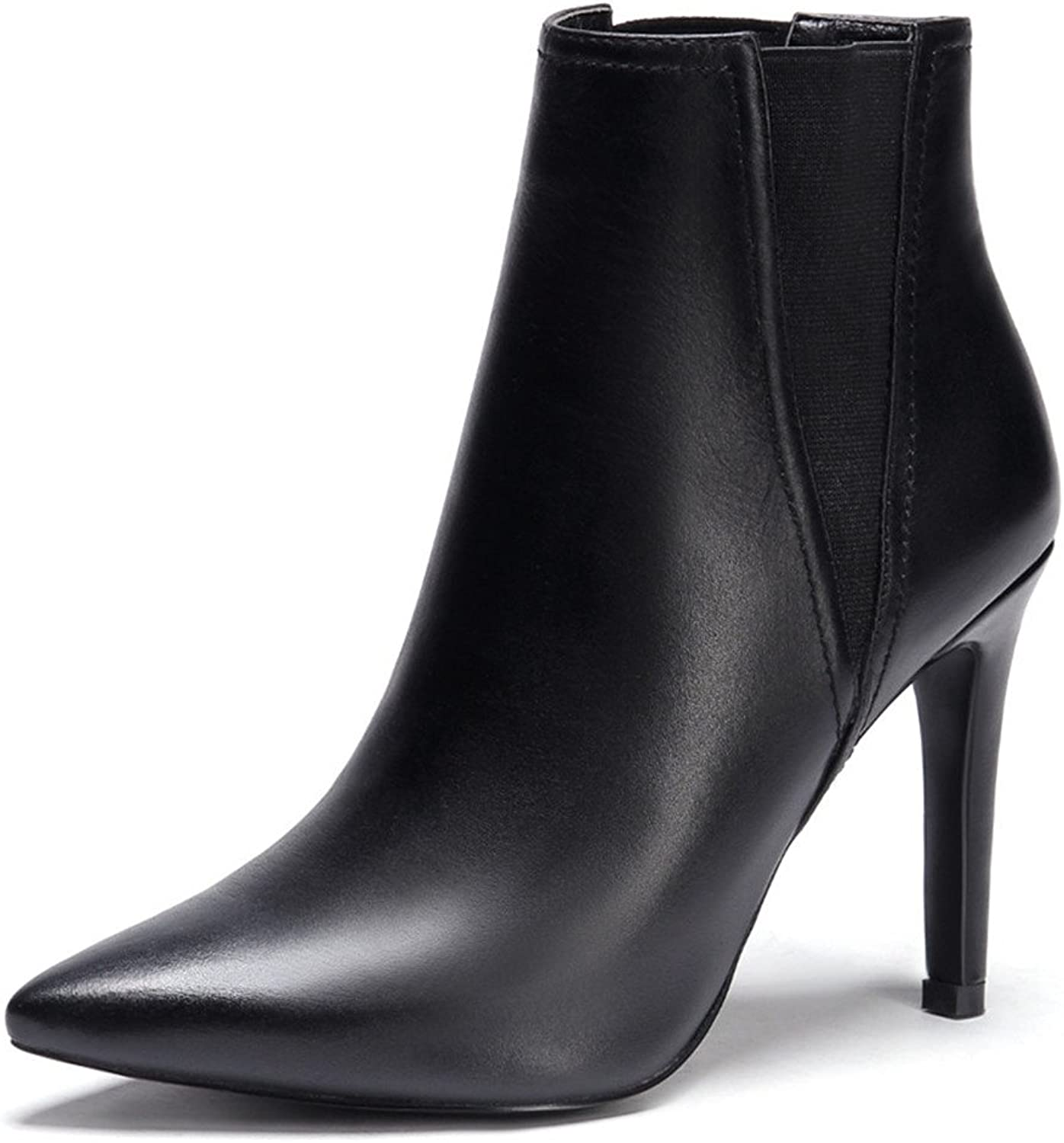 Nine Seven Genuine Leather Women's Pointy Toe Sexy Stiletto Heel Style Handmade Dressy Ankle Boots