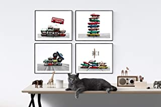 Kids Truck and Car Nursery Art Set of 4 UNFRAMED photos or canvas, Car and truck themed Wall art for boys, Vintage matchbox cars, multiple sizes available, perfect for your kids room or nursery walls