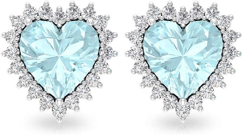 3 Ct Blue Topaz Sky Stud Earring, Heart Shape Solitaire Earring, SGL Certified Diamond Bridal Wedding Earring, HI-SI Diamond Bridesmaid Earring, Screw Back