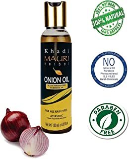 Khadi Mauri Herbal Onion Oil - Anti Hairfall, Anti Dandruff, Promotes Hair Growth & Thicker Hair -120 ml - Enriched with Red Onion, Argan, Jojoba, Amla, Shikakai, Bhringraj, Tea Tree, Neem, Castor Oil