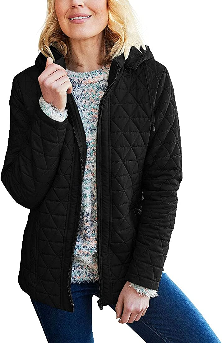 Hongqizo Women Casual Long Sleeve Lightweight Quilted Jackets Hooded Zip Up Jacket Winter Outwear