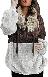 UONQD Women Hoodies,Teddy Bear Hooded Drawstring Pullover Fuzzy Oversize Fluffy Sweater Warm Long Sleeve Outerwear